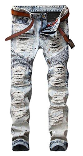 OKilr Pjik Men's Vintage Light Blue Straight Fit Distressed Ripped Moto Biker Denim Jeans 34 - Denim Jeans Light