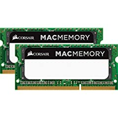 ModelBrand: CORSAIRModel: CMSA16GX3M2A1333C9Type: 204-Pin DDR3 SO-DIMMCompatibilityCompatibility: For Apple MacBook, MacBook Pro & iMacCapacity: 16GB (2 x 8GB)Speed: DDR3 1333 (PC3 10600)Cas Latency: 9Timing: 9-9-9-24Voltage: 1.5VMulti-ch...