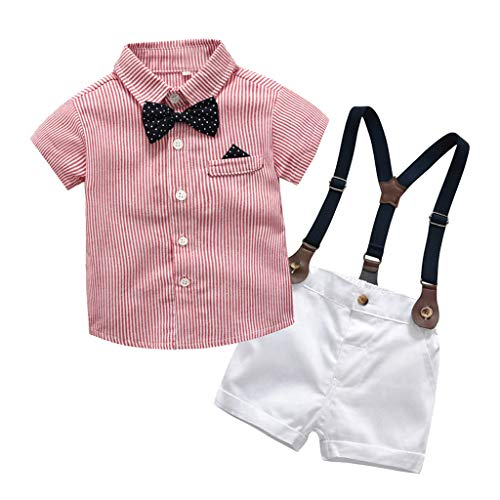 2Piece Infant Baby Boys Gentleman Outfit Set, Bowknot Stripe Shirt Suspenders Shorts Overalls, Party Suit]()