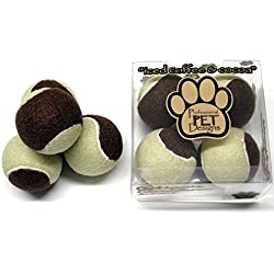 Iced Coffee & Cocoa 'Color' Dog Tennis Ball – Exercise toy for your puppies – Four 2.5 inch medium sized balls in a Designer Box – No Scent nor Squeaky – Cool Durable Design