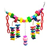 Mrli Pet Parrot Cage Toys, Bird Swing, Colorful Rainbow Bridge, Natural and Colorful Knots Block Parrot Chewing Hanging Toys
