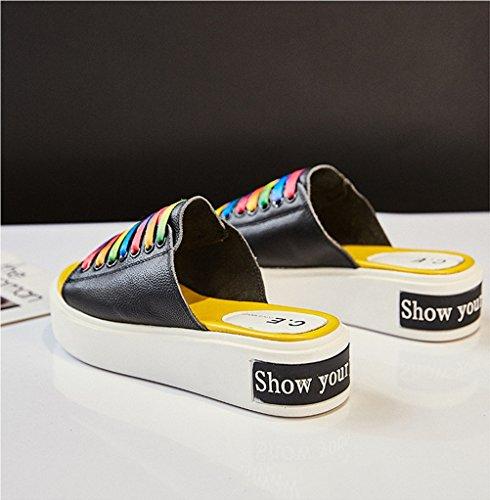 Nero sandali sportive Ciabatte pantofole Usura esterna estiva Pelle libero naturale donna Stagione all'aperto tempo RTqOx