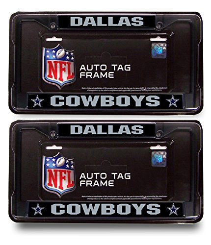 Dallas Cowboys Official NFL- (2X Black Metal License Plate + 2 LED Bulbs)Black Metal License Plate Frame (Cowboy Belt Frame)