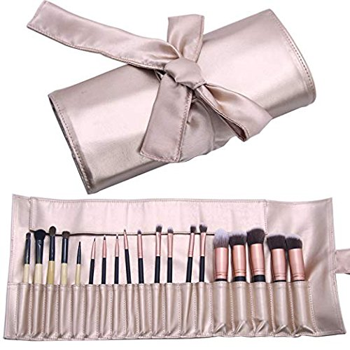 Makeup Brush Organizer Rolling Bag ,Cosmetic Case PU Leather