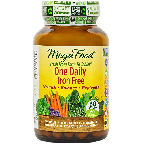 MegaFood - One Daily Iron Free, Multivitamin Support for Immune and Nervous System Health, Energy Production, and Mood with Folate and B Vitamins, Vegetarian, Gluten-Free, Non-GMO, 60 Tablets