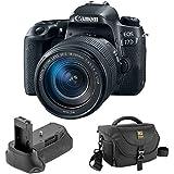 Canon EOS 77D DSLR Camera with 18-135mm USM Lens with Vello BG-C15 Battery Grip and Journey 34 DSLR Shoulder Bag (Black)