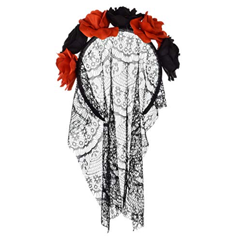 Floral Fall Day of The Dead Flower Crown Festival Headband Rose Mexican Floral Headpiece HC-23 (5 Flower with lace)