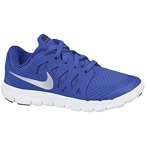 Boy's Nike Free 5 Running Shoe (PS) Blue/White/Metallic Silver Size 1.5 M US