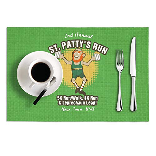 NUMOB St. Patrick's Run & Leap Classic Heat-Resistant Placemats Anti-Skid Stain Resistant PVC Table Mats Set of 2