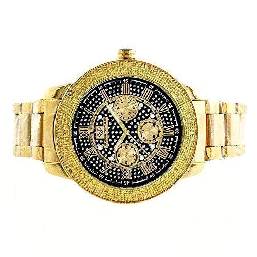 Super Techno Diamond Watch Mens Genuine Diamond Watch Oversized Gold Case Metal Band w/ 2 Interchangeable Bands (Super Techno Watches For Men Gold compare prices)