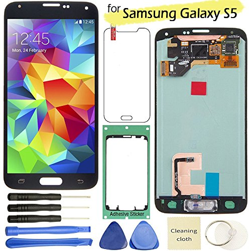 Samsung Galaxy S5 LCD Display Screen Replacement + Touch Digitizer Assembly for I9600 G900 G900A G900F G900P G900T G900V G900R4, with Repair tools + screen protector (Black) by Flying Ocean