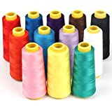 ilauke 12 X 1500M Overlock Sewing Thread Assorted Colors Yard Spools Cone 100% Polyester for Serger Quilting Upholstery Beading Drapery