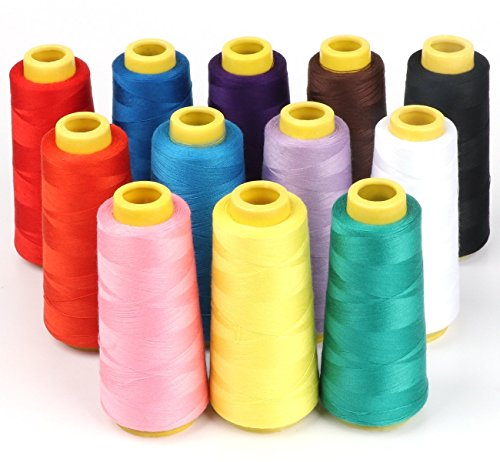 - ilauke 12 X 1500M Overlock Sewing Thread Assorted Colors Yard Spools Cone 100% Polyester for Serger Quilting Drapery
