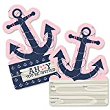 Ahoy - Nautical Girl - Shaped Fill-In Invitations - Baby Shower or Birthday Party Invitation Cards with Envelopes - Set of 12