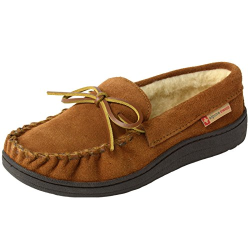 alpine swiss Sabine Womens Suede Shearling Slip On Moccasin Slippers Chestnut 8 M US by alpine swiss