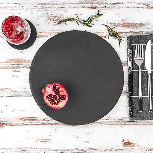 in Ardesia Naturale 6 Pezzi per tipologia Argon Tableware Set sottobicchieri e tovagliette Rotondi