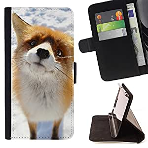 For Sony Xperia M5 Cute Arctic Snow Fox Orange Goofy Animal Style PU Leather Case Wallet Flip Stand Flap Closure Cover