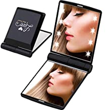 Miss Sweet Led Lighted Compact Mirror Purse Mirror Travel Mirror Compact for Beauty Makeup True image&2X magnification (Black)