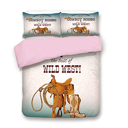 Pink Duvet Cover Set,Queen Size,Cowboy Rodeo Championship The Best of Wild West Poster Design Elements Decorative,Decorative 3 Piece Bedding Set with 2 Pillow Sham,Best Gift For Girls Women,Blue Burgu