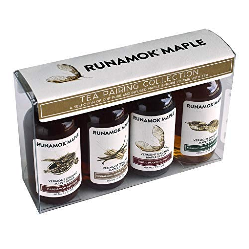 Runamok Maple Organic Vermont Maple Syrup Sampler | Tea Pairing Maple Syrup Collection | 2 oz (4 count) | 60mL | Traditional and Infused Organic Maple Syrup Varieties | Perfect Mother's Day Gift