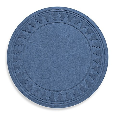 Weather Guard Round Christmas Tree Skirt Mat Protects Against Slips and Spills (Navy)