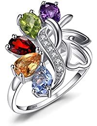Butterfly 2.4ct Genuine Amethyst Garnet Peridot Citrine Blue Topaz Cocktail Ring 925 Sterling silver