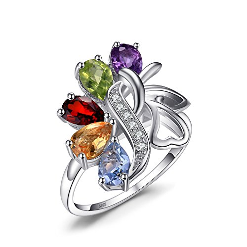 JewelryPalace Butterfly 2.4ct Genuine Amethyst Garnet Peridot Citrine Blue Topaz Cocktail Ring 925 Sterling silver Size 7