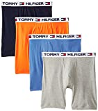 Tommy Hilfiger Men's 4 Pack Boxer Brief, Tangerine/Navy/Grey/Blue, X-Large