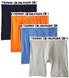 Tommy Hilfiger Men's 4 Pack Boxer Brief, Tangerine/Navy/Grey/Blue, Small