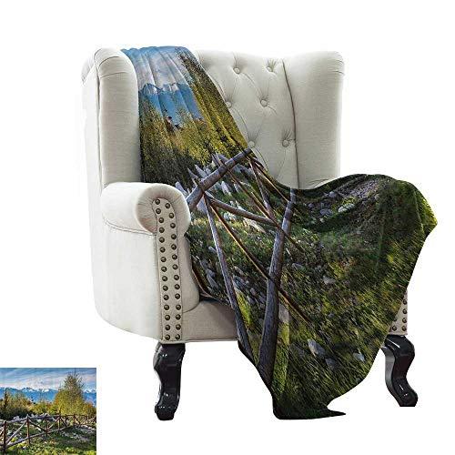 RenteriaDecor Farm House Decor,Personalized Blankets Idyllic Scene with Tree Trunk Plank and Snow Mountain Range The Alps Photo 80