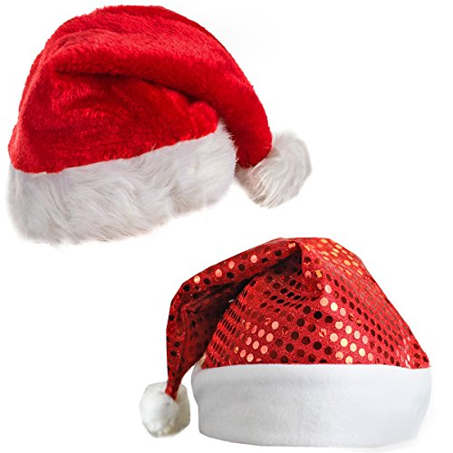 Plush Santa Hat and a Red Sequin Santa (Red Sequin Santa Hat)