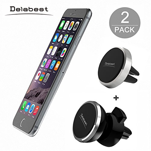Delabest-Air-Vent-Magnetic-Universal-Car-Mount-Holder-with-Fast-Swift-Snap-Technology-for-Smartphones-and-Mini-Tablets-2-Pack