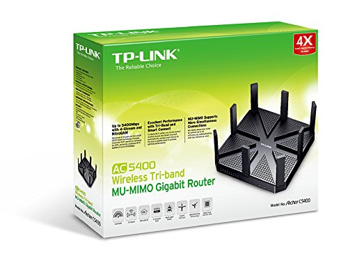 TP-Link AC5400 Tri Band Smart WiFi Gaming Router - MU-MIMO, Beamforming, Gigabit, Works with Alexa and IFTTT, Integrated Anti-Virus & QoS(Archer C5400)