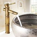 Aquafaucet Antique Brass Bamboo Shape Bathroom Sink Vessel Faucet Basin Mixer Tap