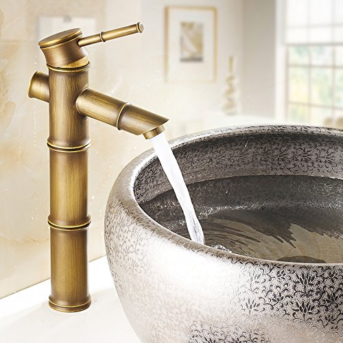 Aquafaucet Antique Brass Bamboo Shape Bathroom Sink Vessel Faucet Basin Mixer Tap Bamboo Single Handle Tub