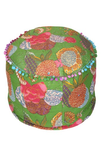Floor Cushion Ottoman Fruit Printed Patchwork Foot Stool 20 By 14 Inches