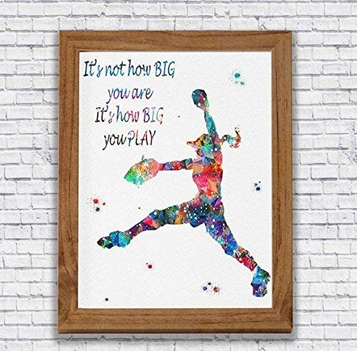 (Softball Player Watercolor Quote Print Pitcher Wall Art Girl's Room Wall Decor Kid's Room Artworks Sports Wall Hanging House Warming Archival Fine Art Softball Player Gift)