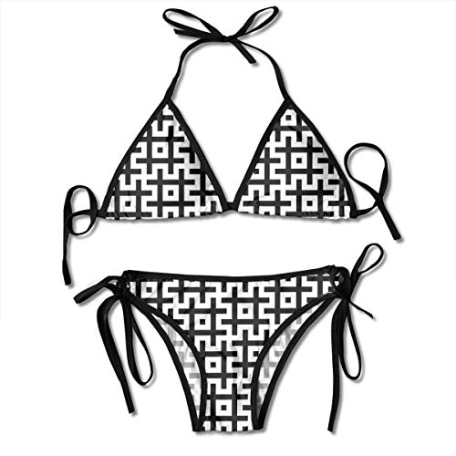 Black and White Hashtags Sign Symbol Ladies Women Girl Summer Dress Beach Outfit Set Bikini Two-Piece Swimsuit Merchandise Adult Costume Print Cupshe Female Bathing Suit Apparel Attire