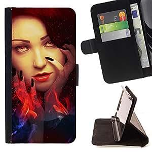 - WITCH EYES WOMAN WIZZARD FIRE HEAD RED - - Prima caja de la PU billetera de cuero con ranuras para tarjetas, efectivo desmontable correa para l Funny HouseFOR Sony Xperia Z1 L39