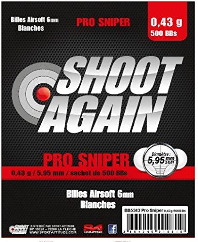 SACHET DE 500 BILLES BLANCHES 0.43G DE 5.95MM SHOOT AGAIN PRO SNIPER