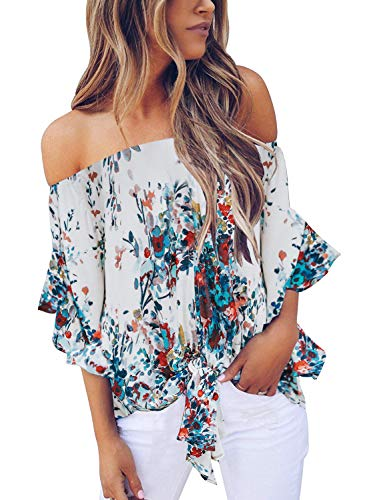 Uncinba Womens Summer Off The Shoulder Tops 3/4 Ruffle Sleeve Sexy Floral Chiffon Tie Knot T Shirt - Floral Top Ruffle