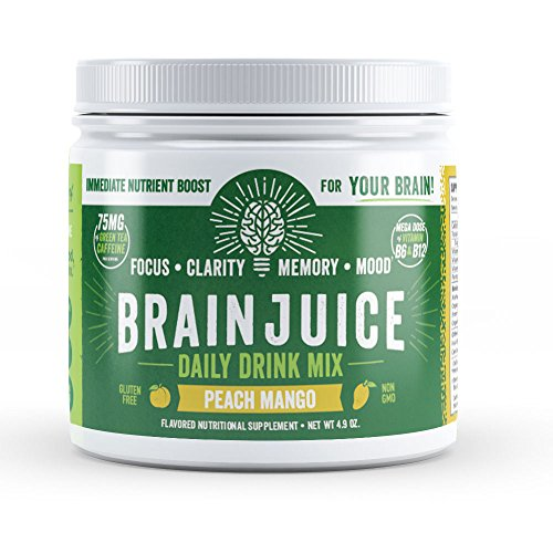 BrainJuice Brain Booster Memory Focus Drink  Green Tea Extract Alpha GPC Brain Support Supplement for Energy Focus Clarity Memory Mood Peach Mango 30 Servings