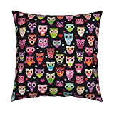 Roostery Nursery Animal Girl Owl Retro Birds Owls Velvet Throw Pillow Retro Colorful Owls Best by Littlesmilemakers Cover and Insert Included