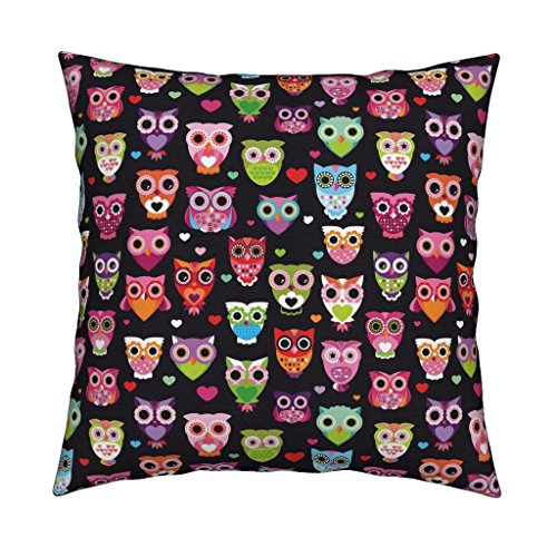 Roostery Nursery Animal Girl Owl Retro Birds Owls Velvet Throw Pillow Retro Colorful Owls Best by Littlesmilemakers Cover and Insert Included by Roostery