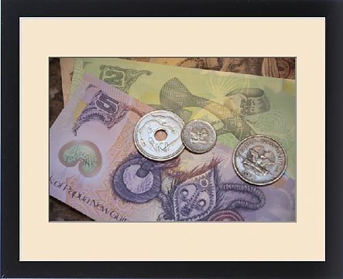 Framed Print of Melanesia, Papua New Guinea. Village of Vanimo. Colorful PNG money, the Kina (Papua New Guinea Mask)