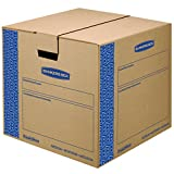 Bankers Box SmoothMove Prime Moving Boxes, Tape-Free, FastFold Easy Assembly, Handles, Reusable, Medium, 18 x 18 x 16 Inches, 8 Pack (0062801)
