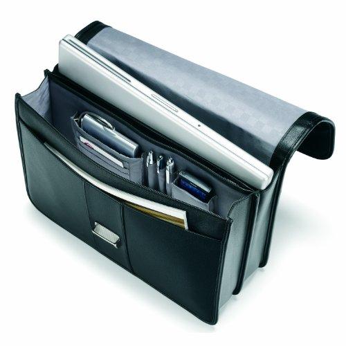 Samsonite Leather Flapover Briefcase (Black)