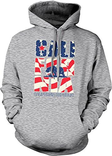 California Stars and Stripes, California, USA Hooded Sweatshirt, NOFO Clothing Co. S LtGray