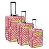 3pc Polka Dot Fushia & Green Luggage Set