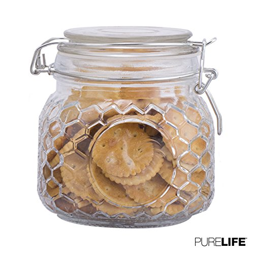 Cookie Jar - Glass Canister for the Kitchen by PureLife - Durable Airtight Lids & Resistant Storage Jar - Perfect for Keeping your Food Fresh & Organized in the Pantry - 1 Pc of 25oz